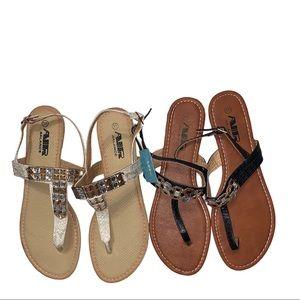 Lot of 2 Air Balance Flat Bejeweled Sandals Sz 11